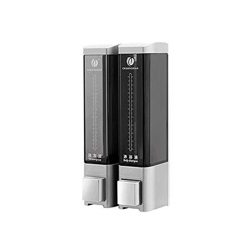 HEHEN CHUANGDIAN Wall Mounted Manual Soap Dispenser Double Liquid Shampoo Shower Gel Dispenser/Silver 180ml×2