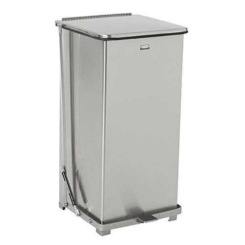 Rubbermaid Commercial FGQST24SSRB The Silent Defenders Steel Step Trash Can, Square with Retaining Band, 24-gallon, Stainless Steel
