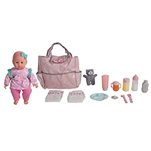 DREAM COLLECTION 14″ Baby Doll with Diaper Bag Set