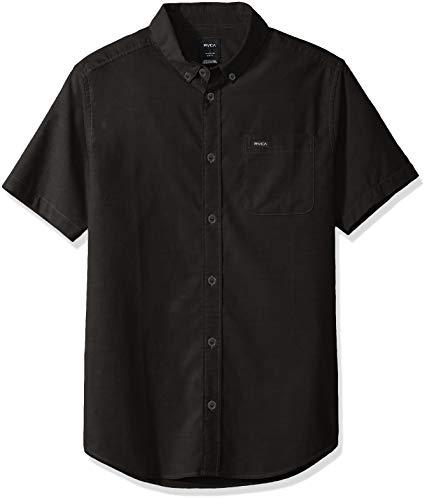RVCA Men's Thatll DO Stretch Short Sleeve Woven Button UP Shirt, Black, XXL