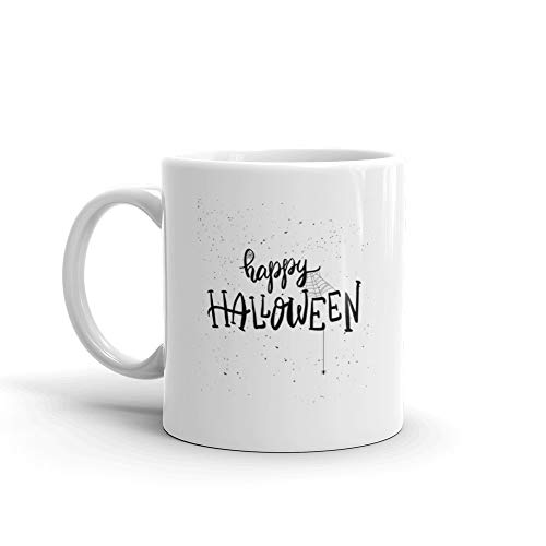 Happy Halloween Hand Drawn Lettering Phrase Halloween Theme Coffee Mugs 11 Oz White -