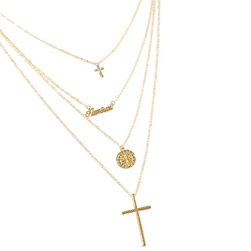 Multilayer Chain Pendant Necklace, Women Wonderful Alloy Jewelry (4 Layer Cross Wafer)