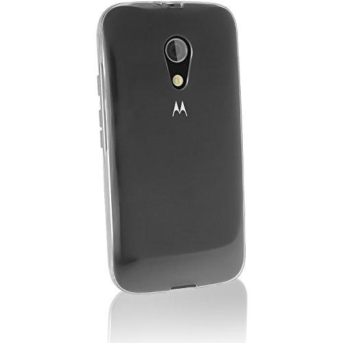 iGadgitz Transparent Clear Glossy TPU Gel Skin Case Cover for Motorola Moto G 2nd Generation 2014 XT1068 (G2) + Screen Protector (Motorola G Cover 2nd Generation)