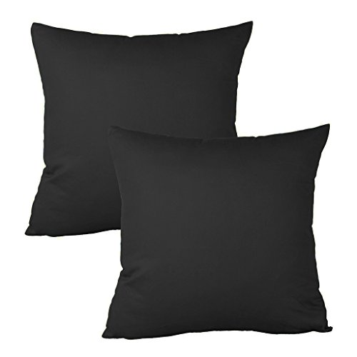 Meraki 1800 Series Soft Brushed Microfiber Solid Black, Euro Square Throw Pillowcases with Hidden Zippered (30