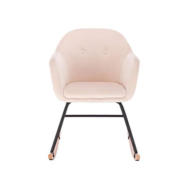 WOLTU SKS16cm Chaise à Bascule en Velours,Fauteuil Relax Fauteuil à Bascule Crème Blanc