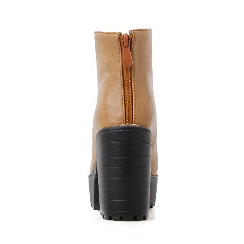 Closed high Allhqfashion Yellow Ankle Round Soft Toe Solid Boots Material High Heels Women's TFCFz6E