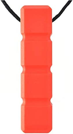 Chewy Block Sensory Chew Necklace Mild To Moderate Chewers RED Chewable Stimulat