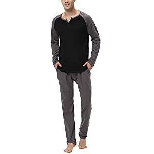Aiboria Men's Pajamas Set Cotton Long Sleeve Top and Pants Soft Sleepwear Lounge Set