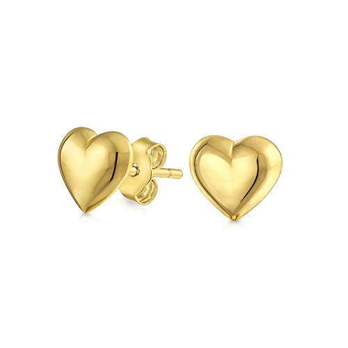 Minimalist Tiny Simple Real 14K Yellow Gold Puff Heart Stud Earrings For Women For Girlfriend 5MM ()