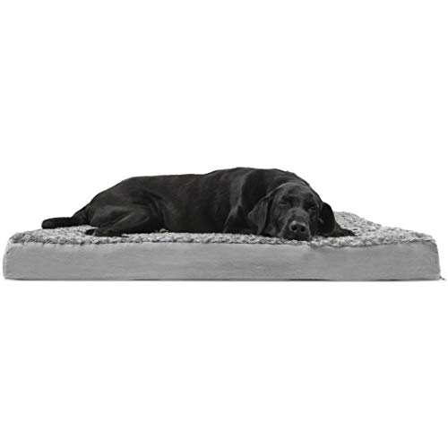 FurHaven Pet Dog Bed | Deluxe Orthopedic Ultra Plush Mattress Pet Bed for Dogs & Cats, Gray, Jumbo