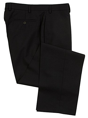 Mens Comfort Stretch Wool Dress - Ralph Lauren Men's Flat Front Solid Navy Blue Wool Dress Pants - Size 38 x32