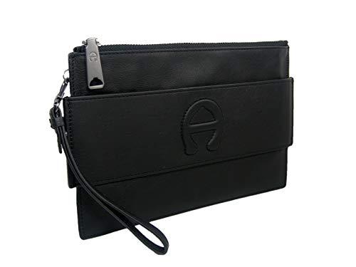 New Etienne Aigner A Logo Large Wristlet Purse Hand Bag Geniune Leather Black (Aigner Handbags Etienne Black)