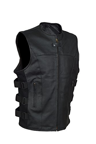 Men's SWAT Style Motorcycle Biker Leather vest with two concealed gun pockets ()