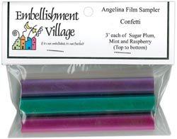 Embellishment Village Bulk Buy Angelina Film Sampler 4 inch x 3 inch 3 Pack Confetti Raspberry/Mint/Sugar Plum AFCONF (3-Pack)