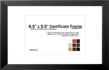 8.5'' x 5.5'' Matted Certificate Frame - 5.5x8.5 Wood Frame - Holds any document measuring 8.5x5.5 or 8.5x11 inches (Black)