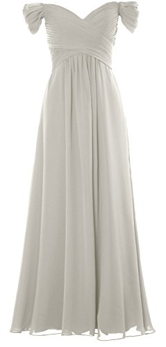 Elfenbein Shoulder Wedding Long Off Gown Dress Party the Chiffon MACloth Women Formal Prom S47tZ