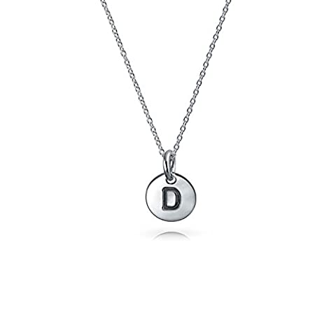 Bling Jewelry 925 Silver Petite Letter D Initial Disc Pendant Necklace (Pendente D'argento Disco)