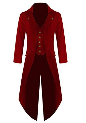 Farktop Men's Steampunk Vintage Tailcoat Jacket Gothic Victorian Coat Tuxedo Uniform Halloween Costume - Red Mens Coat