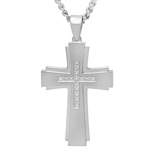 STEEL NATION JEWELRY Men's Stainless Steel .15cttw Diamond Stacked Cross Pendant with Curb Chain Necklace, 24-inches from STEEL NATION JEWELRY