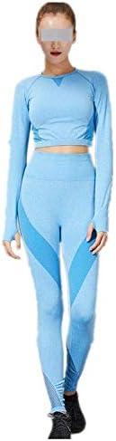 レディースジャージ上下セット 女性用ランニングフィットネスウェアスーツスリムモデルヨガスポーツスーツ2個 (色 : 青, サイズ : S)