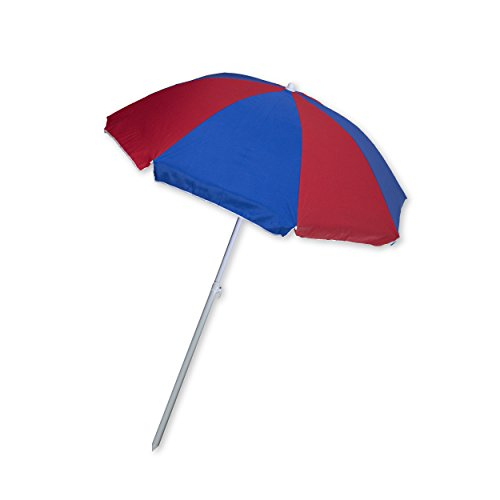 Beach Umbrella for Sun Shade with Adjustable Height and Tilt - 66 Inch Canopy, Pole Set, Carrying Bag (Blue & Red) (Costco Outdoor Furniture Covers)