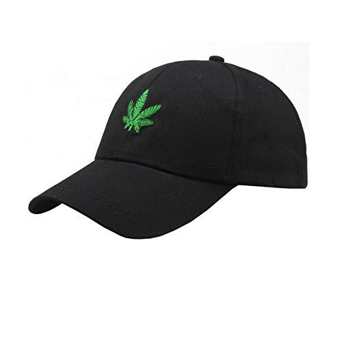 Weed Dad Hat Marijuana-Baseball-Cap - Pot Leaf Cannabis Embroidered Polo Style Adjustable Black (Weed Leaf Hat)