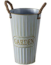 Flower Pot Flower Shop Retro Old Vertical Pattern Iron Decorative Flower Barrel Flower Flower Dried Flower Tube Wrought Iron American Country (excluding Flowers And Plants) (Size : S)