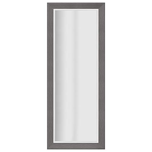 (Everly Hart Collection 24x70 Graywash Woodgrain Framed Beveled Wall or Leaner Mirrors, Gray )
