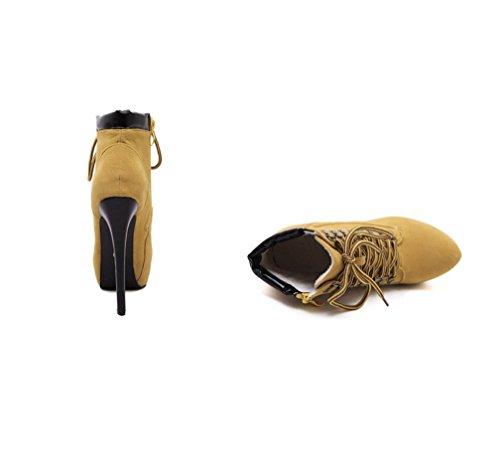 Boots Sexy Ferse Stiefel LIANGXIE Baumwollschuhe Gelb Braun Hochhackige ZHHZZ Kreuzriemen Bequeme Ankle Damen Einfarbig Martin E88qwSFx