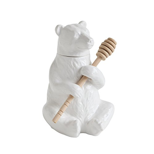 Creative Co-Op DA8253 White Bear Shaped Honey Pot with Bamboo Dipper