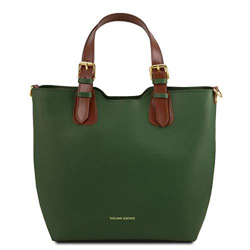 Tuscany Leather Tl Bag Sac à main en cuir Saffiano - Tl141696 (bleu foncé) Vert