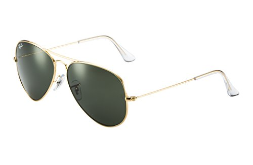 Ray-Ban RB3025 Aviator Sunglasses (55 mm, Gold Metal Frame/Non-Polarized Green G-15 ()