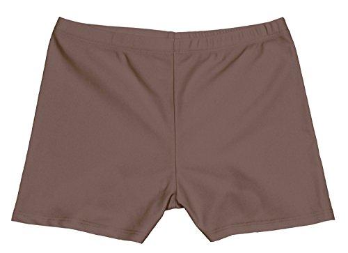 grUVywear Girls UV Sun Protective Boy Cut Stretch Swim Short Bottoms UPF 50+ (S 5-6, Brown)