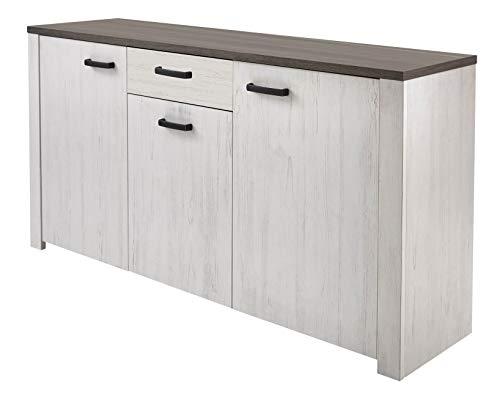 miroytengo Buffet Salon salle à manger tiroir et portes Couleur Pin andersen et chêne prata 175 X 82