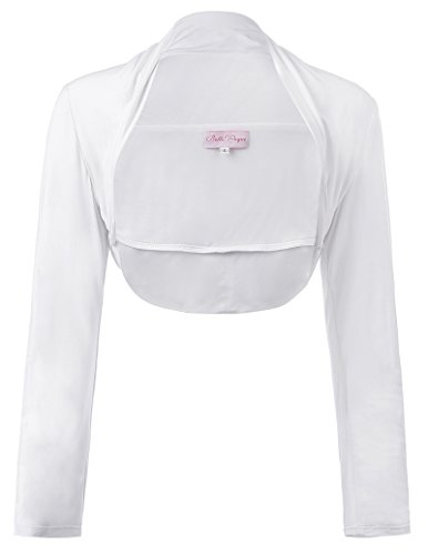 Women's Shrug Crop Long Sleeve Bolero for Dresses White, Large by JS Fashion Vintage Dress