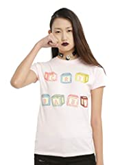 """Fitted pink tee from Melanie Martinez with """"Cry Baby"""" blocks text design on front."""
