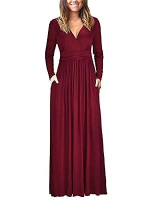 VOGRACE Women's Long Sleeve V-Neck Maxi Dress Casual Long Dresses with Pockets
