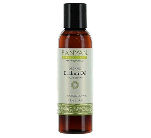Banyan Botanicals Brahmi Oil with Sesame Base - USDA Certified Organic - Ayurvedic Skin & Hair Oil with Gotu Kola & Bacopa - Calms the Mind