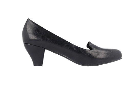 SALE - ANDRES MACHADO - Damen Pumps - Schwarz Schuhe in Übergrößen