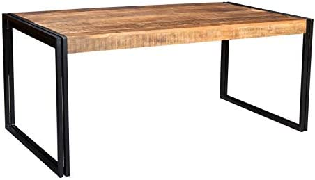 Timbergirl AA1310xs Hand-Crafted Reclaimed Wood and Metal Dining Table