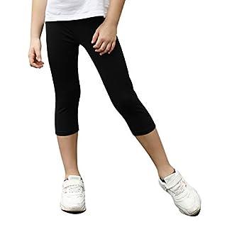 STELLE Girls Active Capri Legging Yoga Pants for Workout Sport Running (Black, M)