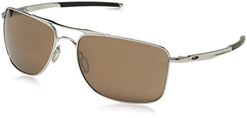 Oakley Men's OO4124 Gauge 8 Rectangular Metal Sunglasses, Polished Chrome/Prizm Tungsten Polarized, 62 mm