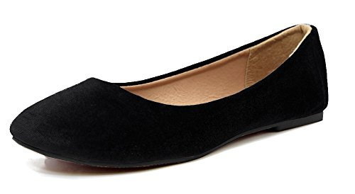Ballet Flats for Women, Women's Lightweight Fashion Comfy Basic Round Toe Ballet Velvet Material Classic Flats Low Heeled Shoes, Black Size 9 M [US Size] (Black Shoe Ballet Velvet)