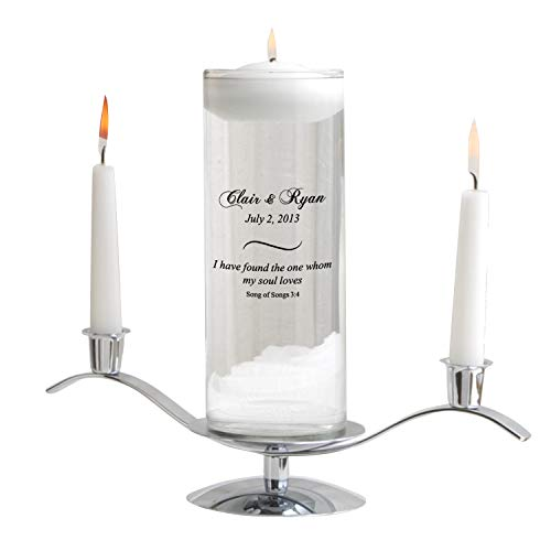 Personalized Floating Wedding Unity Candle - Personalized Wedding Candle - Includes Stand - Song of ()