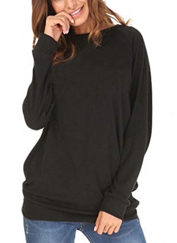 She's Style Women's Cotton Knitted Long Sleeve Loose Casual Pullover Tunic Sweatshirt Tops Color Black Size XL