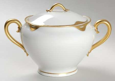 Haviland Silver Anniversary Sugar Bowl with lid - Antique 1900s - - Porcelain Bowls Haviland