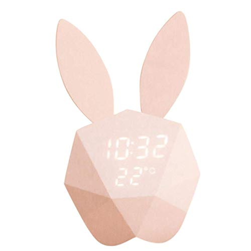 (Kids Bunny Alarm Clock Wall Clock Cute Night Light Table Clock Wake up Light Cartoon Rabbit Bedside Table Lamp for Kids Children Adults Mother (Pink))