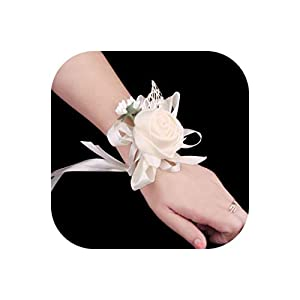 Satin Silk Rose Bride Wrist Corsage Women Bridesmaid Girl Hand Wedding Flowers Party Decoration 117