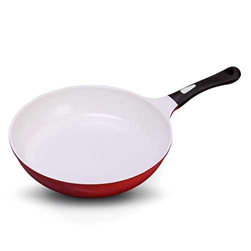 ANHO Nonstick Frying Pan Ceramic Coating - 11'' Chef's Pan Korea Made - Detachable Silicone Handle PFOA Free - Oven & Dishwasher - Gas Cooktop Heated