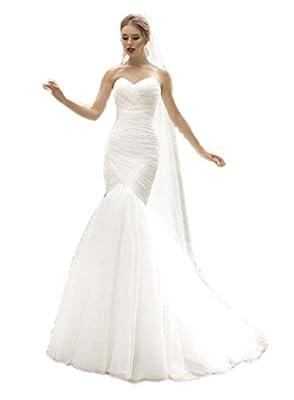 Ikerenwedding® Women's Sweetheart Tulle Train Mermaid Wedding Dress With Veil